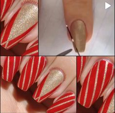 Gold, red, two colors, stripes, accent nail, medium