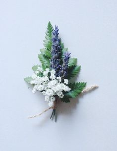 Boutonniere of fern lavender and babys breath real by TheBloomBar