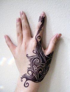 Tribal-Inspired Tattoo - 55+ Cute Finger Tattoos | Art and Design
