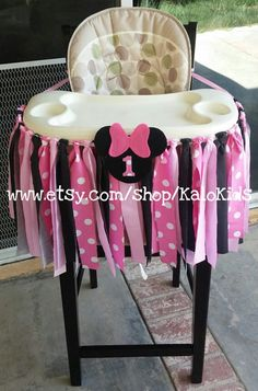 Pink Minnie Mouse Fabric High Chair Banner by KaloKids on Etsy
