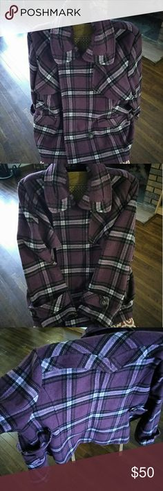Purple plaid coat This is very clean coat. It has been worn but not hurt. It's very warm and a stylish peacoat for your Jen's or slacks. It's a 1x size. Don't like the price we can make a deal. After all it's just a coat. Hydraulic Jackets & Coats