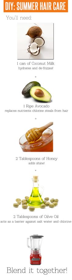 DIY hair mask for summer. Can be stored in the fridge for up to 2 weeks! You'll need: 1 can of coconut milk, 1 ripe avocado, 2 tablespoons of honey, and 2 tablespoons of olive oil. Blend it together until it looks like a smoothie. Leave it on 2 to 3 hours.