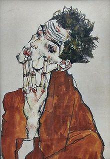 Self-portrait Egon Schiele   Austrian expressionist painter, 1890-1918