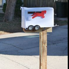 Horse trailer Mailbox... my daughter would love!