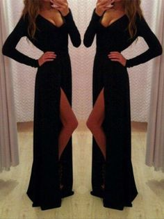 Sexy Black Long Sleeve V-Neck Prom Dresses 2016 Front Split Long_High Quality Wedding Dresses, Quinceanera Dresses, Short Homecoming Dresses, Mother Of The Bride Dresses - Buy Cheap - China Wholesale - 27DRESS.COM