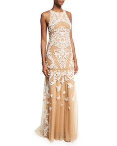 Sleeveless+Beaded+Tulle+Gown,+White/Neutral+by+Zuhair+Murad+at+Neiman+Marcus.