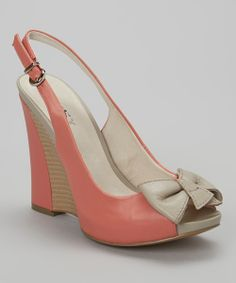 Light Coral & Beige Bow Peep-Toe Slingback