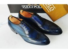 FOR MEN : TucciPolo Bleached Blue Oxford Mens Handcrafted Leather Hand-Painted Luxury Shoe - ID#TP0015MS