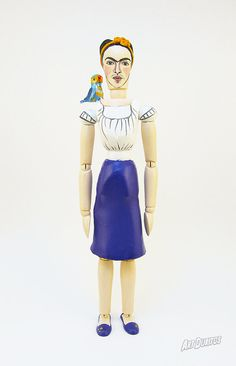 Frida Kahlo Bonito Art Doll - Sculpture - Unusual Art - Articulated Wooden Figure - Original Pop Art Hand painted