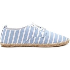 Forever 21 Women's  Striped Espadrille Sneakers ($16) ❤ liked on Polyvore featuring shoes, sneakers, flat pumps, flat shoes, forever 21 flats, striped espadrilles and lace up espadrille flats