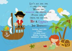 Pirate and Mermaid Birthday Party by graciegirldesigns77 on Etsy, $12.00