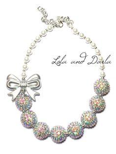 Sparkling Silver Bow Sparkle Chunky Bubblegum Necklace
