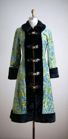 1960s faux fur tapestry princess coat