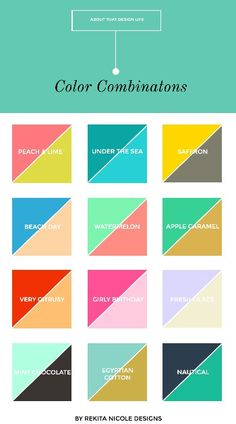 color combinations for small business logos and websites. LOVE the pink and green! M :: 2 Color Combinations — Rekita Nicole Colour Pallete, Colour Schemes, Color Patterns, Color Combos, Best Color Combinations, Color Palettes, Room Color Combination, Color Combination For Website, Color Mixing Chart
