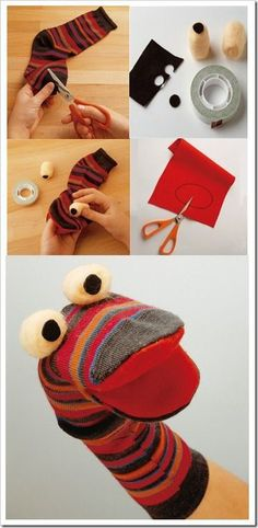 27 DIY Sock Toys: How to Make Sock Animal Puppets for kids - Diy Craft Ideas & Gardening Diy Sock Toys, Sock Crafts, Puppet Crafts, Sock Puppets, Hand Puppets, Sewing Patterns Free, Free Sewing, Diy For Kids, Crafts For Kids