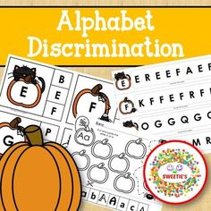 Alphabet Discrimination Activities - Halloween Pumpkin Theme by Sweetie's Learn To Spell, Learn To Count, Learning Resources, Teaching Ideas, Kindergarten Blogs, School Reviews, Counting Activities, Teacher Organization, Elementary Math