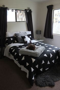 Monochrome bedroom decor - black, white and grey is life - styling using only items from Kmart and The Warehouse