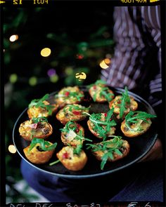 Birthday:baked potato skins with gorgonzola, rocket and mustard fruit