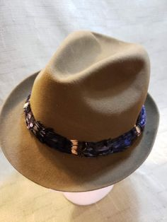 ae526422bfd Vintage Olive Green Dobbs Double Life Feather Band Fur Felt Fedora Trilby  Tyrolean Alpine Men s Hat Size 7 1 4