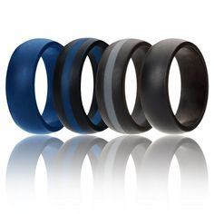 ROQ Silicone Wedding Ring For Men, Silicone Rubber Band Police 4 Pack- Blue, Black, Grey - Size 9