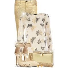"""""""Gold&Ivory Butterfly Top"""" by katiediab on Polyvore"""