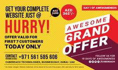 We are celebrating 19 days of #AWESOMENESS at CubeReach. An irresistible NEVER BEFORE offer EVERYDAY for the next 19 days! How about getting a 5 page complete #website for just AED 365? We don't make some lousy design and throw it away.  We are making amazing things happen! BUT THE OFFER IS VALID ONLY FOR TODAY !! Just give us a call and book your slot right NOW.  Call us @ 971 561 585 606 #websitedesign #NewYearOffer #Websiteoffer #CubeReachoffer
