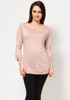 Pink top for women by Van Heusen. Crafted from viscose, this hip-length top has 3/4th sleeves and a round neck. It comes in regular fit.