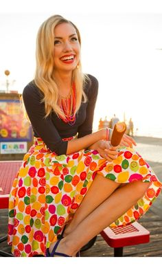 modest clothing--this is seriously stunning! I love the pop of bright colors paired with a neutral top (and the treat, of course!)