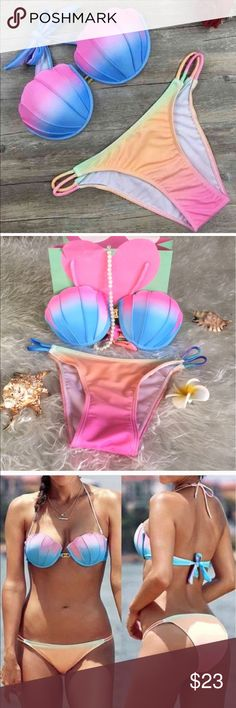 JULY 4th SALE Mermaid shells bikini swimsuit Runs small, so order a size bigger than ur US size . Preorder , ship in 1-2 weeks . Tatoo sticker with one swimsuit purchase, one more body chain with 2 swimsuits purchase Swim Bikinis