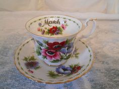 Royal Albert Flower Of The Month March Anemones Tea Cup/Saucer 1970 #RoyalAlbert