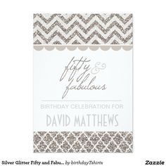 Shop Silver Glitter Forty and Fabulous Birthday Invite created by birthdayTshirts. 60th Birthday Party Invitations, 70th Birthday Parties, Personalized Invitations, Custom Invitations, Birthday Themes For Adults, Chevron Birthday, Carousel Birthday, Fabulous Birthday, Milestone Birthdays