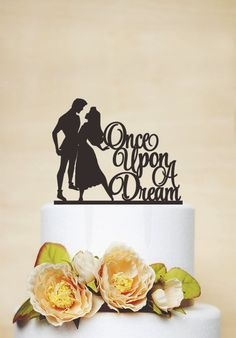 Wedding Cake Topper,Sleeping Beauty Cake Topper,Custom Cake Topper,Disney Style Cake Topper,Once upon a dream Cake Topper- P154