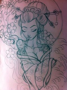 Geisha tattoo art #AwesomeTattooIdeas