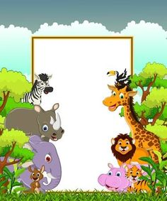 Images - Animal cartoon wildlife with white sign and cross the forest Safari Animals, Funny Animals, Jungle Cartoon, Indian Wedding Album Design, Jungle Theme Birthday, Diy And Crafts, Arts And Crafts, Sip And See, Baby List