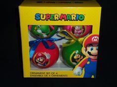 Nintendo Super Mario Ornaments Set of 4 Yoshi, Mario, Luigi, Princess Peach NEW #Nintendo