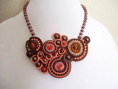 Soutache Beadwork Peach Coral Chocolate Pearl by BellaLucaDesigns