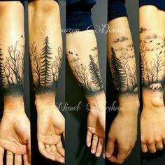 #Tattoo #blackandwhite #blacgrey #AmazonDovme #roses #forest #bird #birds #bear #tree