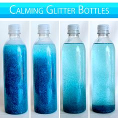 Time out Glitter Bottles - so much fun to create! Ask parents to bring an empty but clean plastic container with a lid.supply glitter and cooking oil and create your own glitter bottles. Cannot leave time out till all of the glitter is rested Sensory Activities, Sensory Play, Toddler Activities, Summer Activities, Fun Crafts, Crafts For Kids, Sensory Bottles, Cooking Oil, Tricks