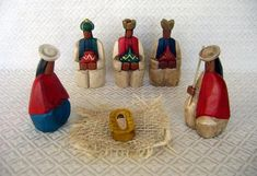 This is a 6-piece Nativity set hand-carved from cedar wood in an Indian style and then hand-painted. The set was made by Otavalo Indians in ...