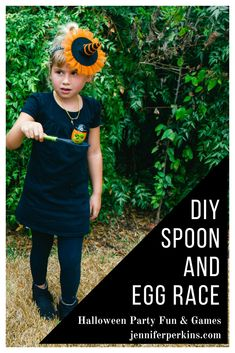 Halloween spoon and egg race for kids