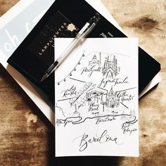 Lamplighter London - Modern Calligraphy Illustrated Map of Barcelona