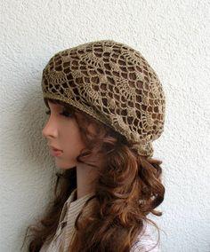 e1f56680850 Women s Crochet Summer boho beret slouchy hat Summer slouchy beret hat 100%  EKO Linen tams hat Women s Summer lace slouchy Tam Hat