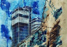 Cooperative Achievement by Cathy Read Art - Manchester Series Series Collage Art Mixed Media, Mixed Media Artists, Mixed Media Painting, Landscape Architecture Drawing, Architecture Photo, Landscape Paintings, Simulated Texture, Original Art, Original Paintings