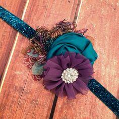 Peacock Headband, Wedding Headband, Flower Headband, Teal Headband, Newborn Headband, Hair Clip, Photo Prop on Etsy, $14.95