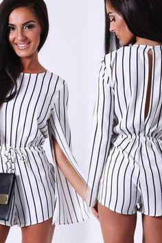 4ba80102e1 FAST SHIPPING 2016 New Fashion Women s White Stripes Split Long Sleeve  Romper. Meghan Amburgey · bodysuits · 2016 New Arrival Sexy ...
