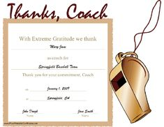 Free printable football certificate templates bing images a printable certificate thanking a coach for his or her commitment a whistle illustrates the football coach giftsfootball yelopaper