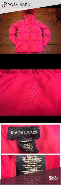 Girls Ralph Lauren Pink Puffer Coat, Medium Girls Ralph Lauren Pink Puffer Coat, Medium  This is a medium, 8-10. Great condition, but has a small ink mark that can be seen only when the coat is unzipped. It's such a cute coat! ☺️ Ralph Lauren Jackets & Coats Puffers