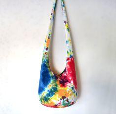 Tie Dye Hobo Bag Sling Bag Bright Colorful by 2LeftHandz on Etsy, $32.00