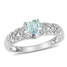 Heart-Shaped Aquamarine Promise Ring in Sterling Silver with Diamond Accents
