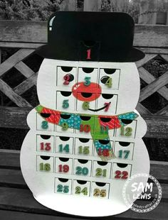 MDF Snowman Advent Calendar by Sam Lewis AKA The Crippled Crafter.  Catch Daisy's Jewels & Crafts on Hochanda tomorrow to to see this and more Christmas crafting goodies!  http://www.thecrippledcrafter.co.uk/2017/09/snowman-advent-calendar.html  #DaisysJewels&Crafts #Christmas #ChristmasCrafting #TheCrippledCrafter #Snowman #TheSnowman #AdventCalendar
